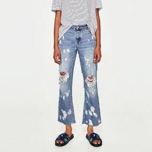 NWT Zara distressed denim jeans cropped 34